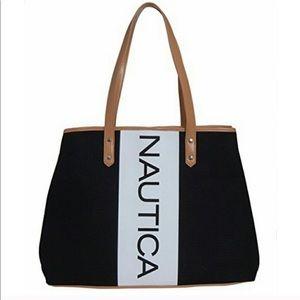 Nautical black and white canvas tote bag